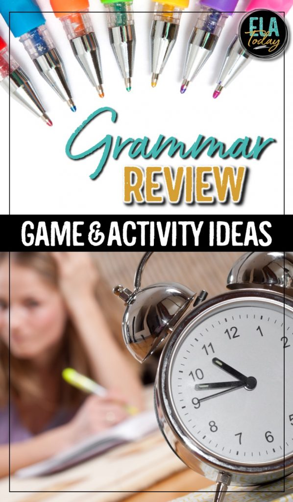 Grammar review ideas, including games and activities for middle and high school ELA #GrammarGames #GrammarActivities
