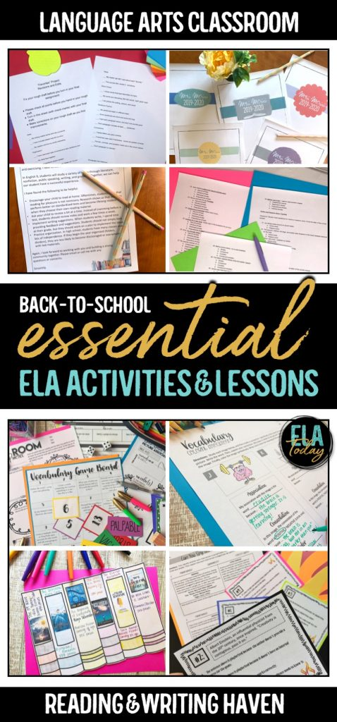 12 essential back-to-school activities and lesson plans for middle and high school ELA #MiddleSchoolELA #HighSchoolELA