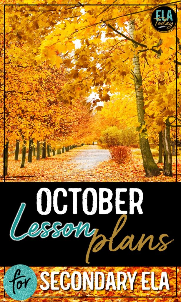 Fall lesson plan ideas for middle and high school ELA, including teaching topics and skills for reading, writing, grammar, and more #HalloweenLessons #EnglishTeacher #SecondaryELA #OctoberLessonPlans