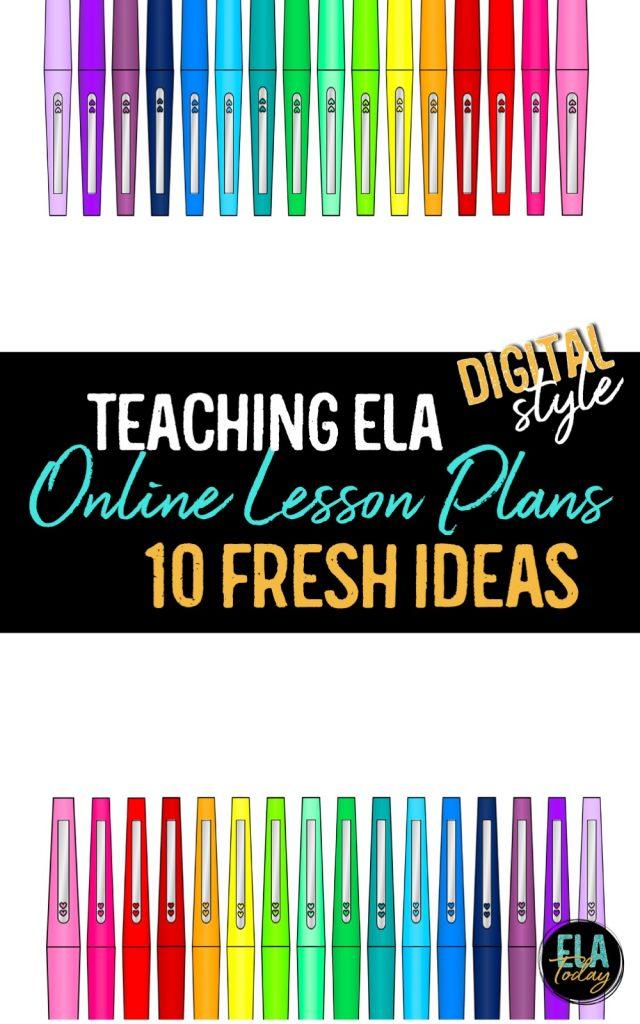 Online lesson plans for digital teaching in secondary ELA #DistanceLearningTpT #HighSchoolELA #MiddleSchoolELA